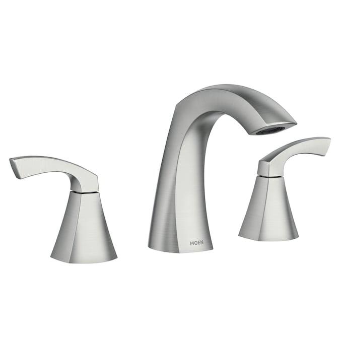 Moen Lindor Spot Resist Brushed Nickel 2 Handle Widespread Watersense Bathroom Sink Faucet With Drain In The Bathroom Sink Faucets Department At Lowes Com