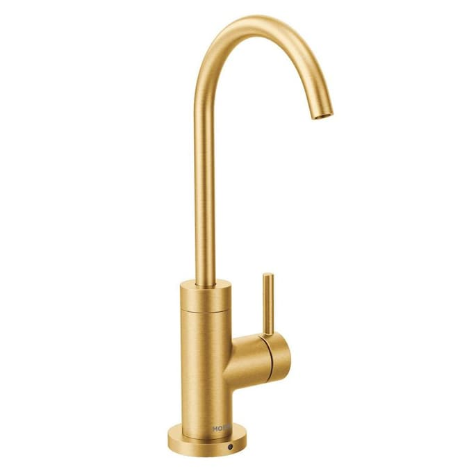 Moen Sip Modern Brushed Gold 1 Handle Deck Mount High Arc Handle Kitchen Faucet In The Kitchen Faucets Department At Lowes Com