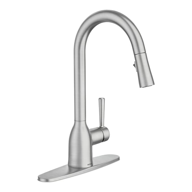 Project Source Stainless Steel 1 Handle Deck Mount Pull Down Handle Kitchen Faucet Deck Plate Included In The Kitchen Faucets Department At Lowes Com