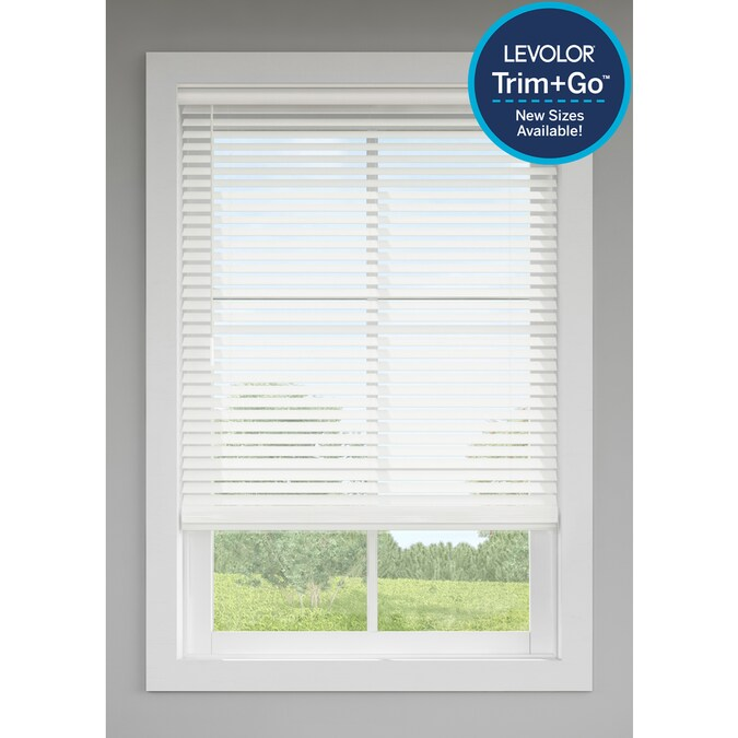 Levolor Trim Go 2 In Slat Width 20 In X 48 In Cordless White Faux Wood Room Darkening Full View Standard Horizontal Blinds In The Blinds Department At Lowes Com