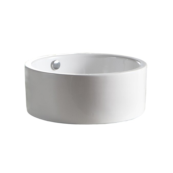 Barclay Sheridan Above Counter Basin White Vessel Round Bathroom Sink With Overflow Drain 16 37 In X 16 37 In In The Bathroom Sinks Department At Lowes Com