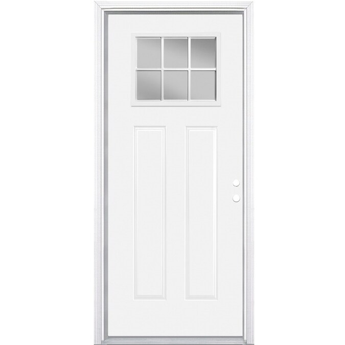 Masonite 36 In X 80 In Steel Craftsman Left Hand Inswing Primed Prehung Single Front Door With Brickmould In The Front Doors Department At Lowes Com