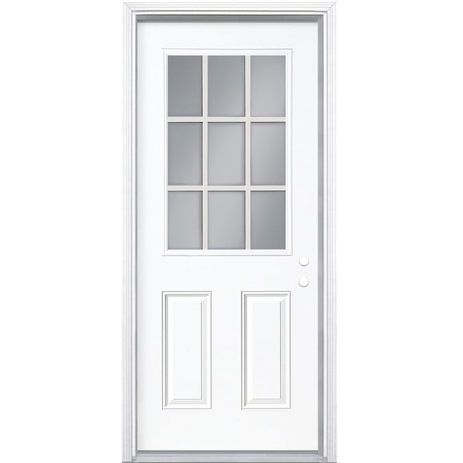 Masonite 36 In X 80 In Steel Half Lite Left Hand Inswing Primed Prehung Single Front Door With Brickmould In The Front Doors Department At Lowes Com