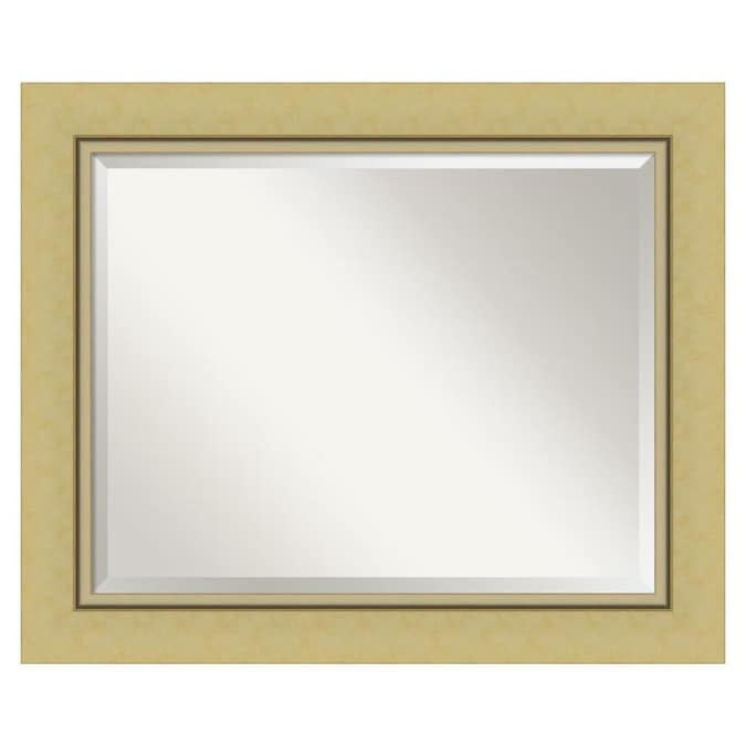 Amanti Art Landon Gold Frame Collection, Landover Rustic Distressed Bathroom Vanity Mirror