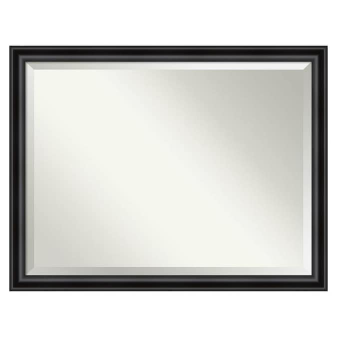 Amanti Art Grand Black Frame Collection 43 88 In Distressed Black Rectangular Bathroom Mirror In The Bathroom Mirrors Department At Lowes Com
