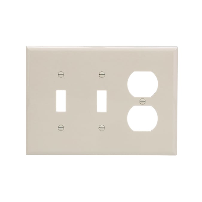 Eaton 3 Gang Light Almond Double Toggle Duplex Midsize Wall Plate In The Wall Plates Department At Lowes Com