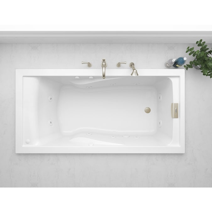 Jacuzzi Primo 42 In W X 72 In L White Acrylic Rectangular Reversible Drain Drop In Whirlpool Tub In The Bathtubs Department At Lowes Com