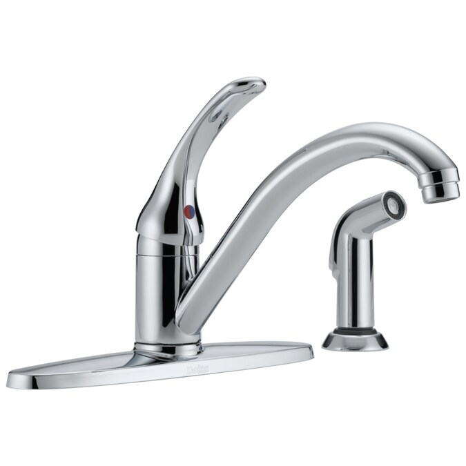 Delta Classic Chrome 1 Handle Deck Mount Low Arc Handle Kitchen Faucet Deck Plate Included In The Kitchen Faucets Department At Lowes Com