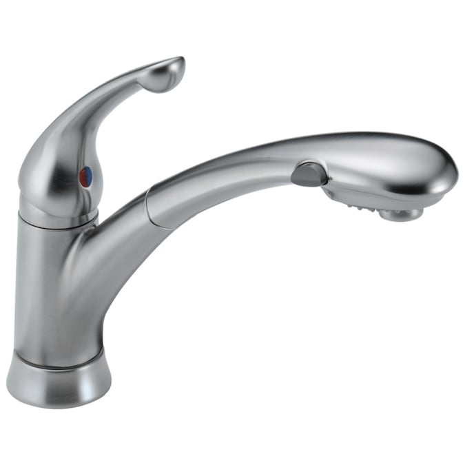 Delta Signature Arctic Stainless 1 Handle Deck Mount Pull Out Handle Kitchen Faucet Deck Plate Included In The Kitchen Faucets Department At Lowes Com