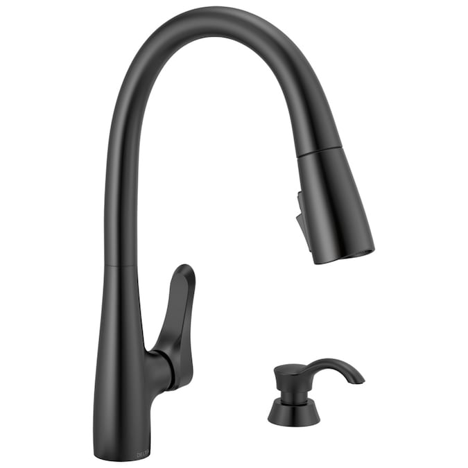 Delta Trask Matte Black 1 Handle Deck Mount Pull Down Handle Kitchen Faucet Deck Plate Included In The Kitchen Faucets Department At Lowes Com