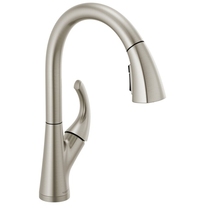 Peerless Parkwood Stainless 1 Handle Deck Mount Pull Down Handle Kitchen Faucet Deck Plate Included In The Kitchen Faucets Department At Lowes Com