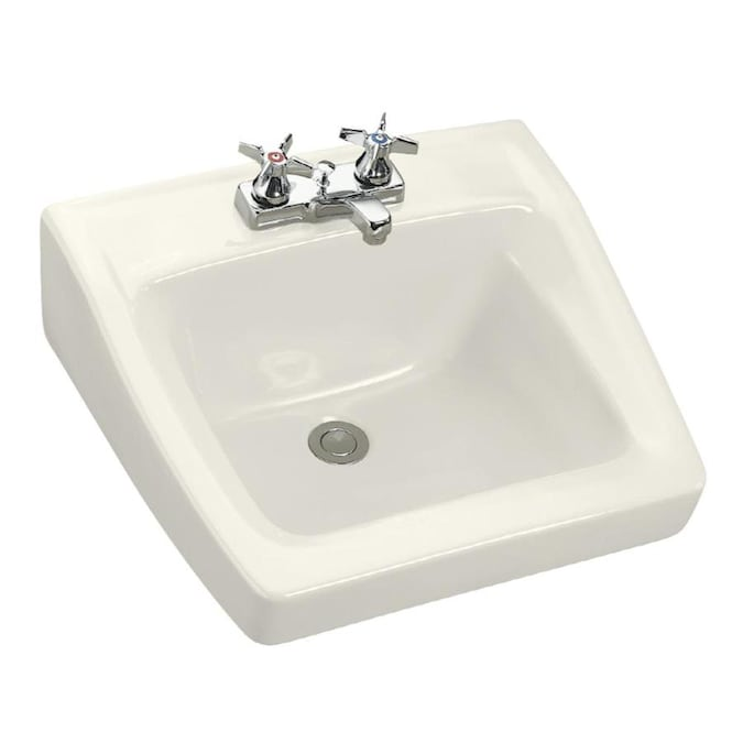 Kohler Chesapeake Biscuit Wall Mount Rectangular Bathroom Sink With Overflow Drain 19 25 In X 17 25 In In The Bathroom Sinks Department At Lowes Com