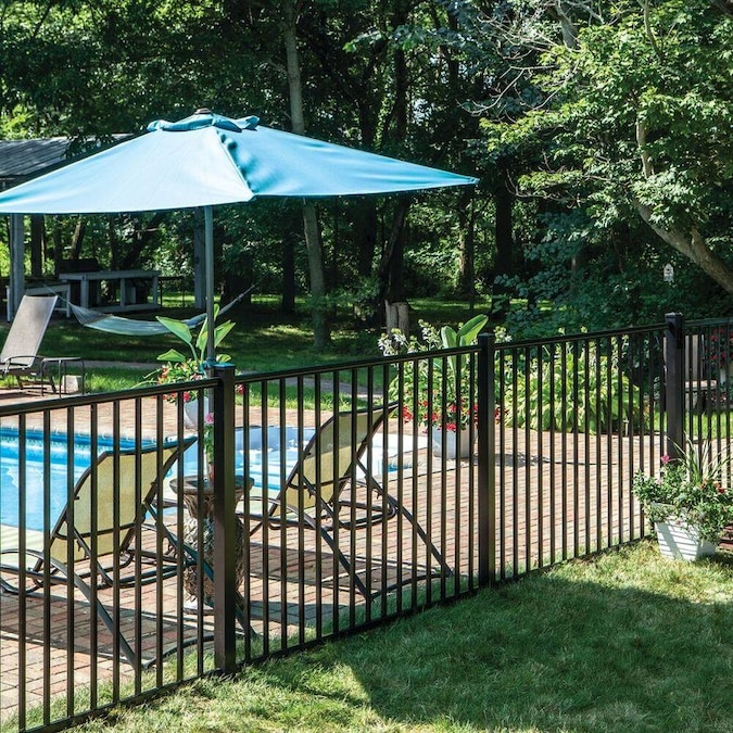 Freedom Heavy Duty Easton 4 Ft H X 6 Ft W Black Aluminum Flat Top Decorative In The Metal Fence Panels Department At Lowes Com