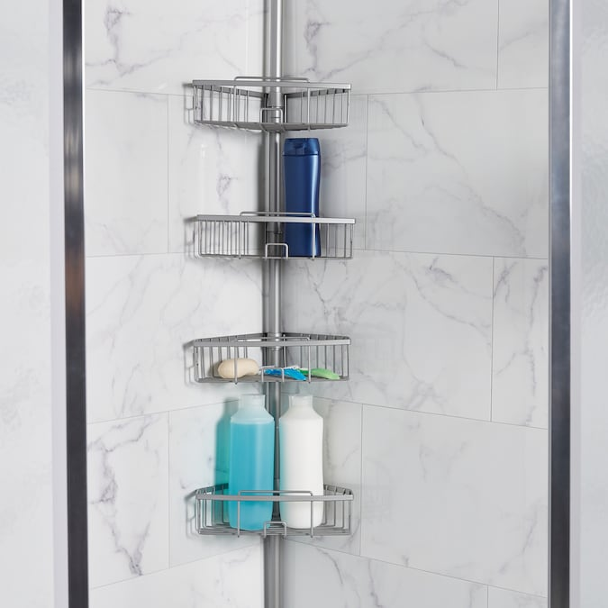 Zenith 108 In H Steel Satin Nickel Tension Pole Freestanding Shower Caddy In The Freestanding Shower Caddies Department At Lowes Com