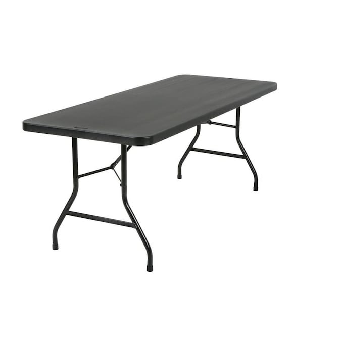 Cosco 2 5 Ft X 6 Ft Indoor Rectangle Resin Black Folding Banquet Table In The Folding Tables Department At Lowes Com