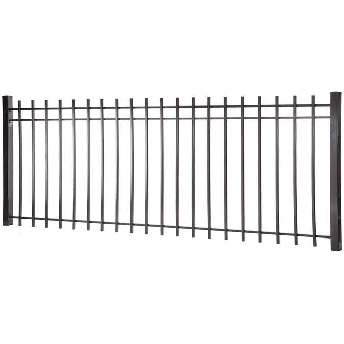 Kent 4 Ft H X 8 Ft W Black Steel Square Top Decorative Fence Panel In The Metal Fence Panels Department At Lowes Com