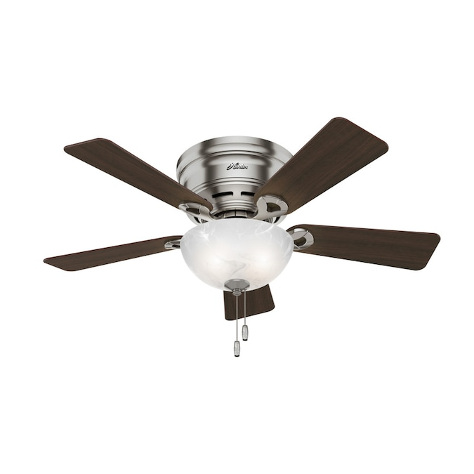 Hunter Haskell Brushed Nickel 42 In Led Indoor Flush Mount Ceiling Fan With Light Kit 5 Blade In The Ceiling Fans Department At Lowes Com