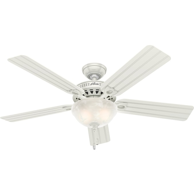 Hunter Beachcomber White 52 In Led Indoor Outdoor Ceiling Fan With Light Kit 5 Blade In The Ceiling Fans Department At Lowes Com