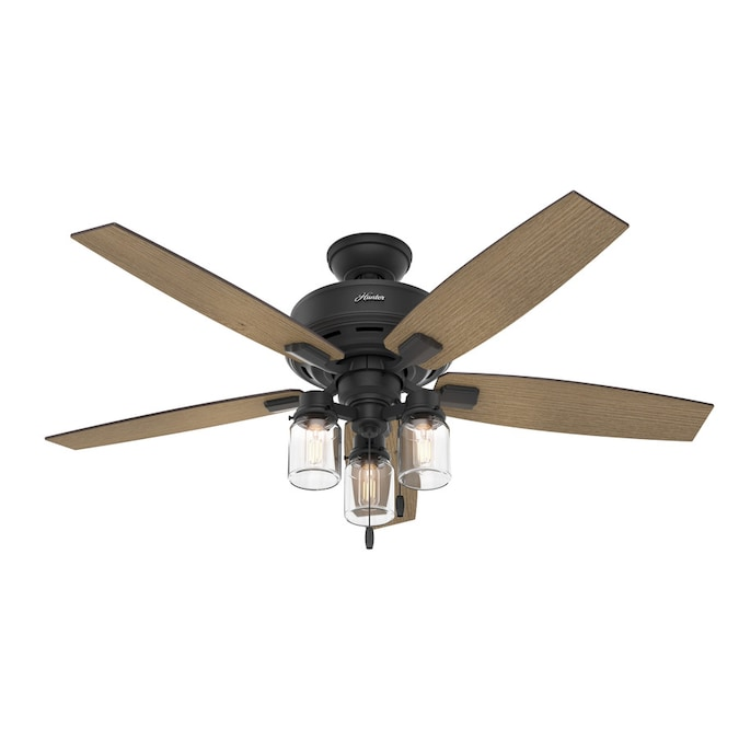 Hunter Lincoln Natural Iron 52 In Led Indoor Ceiling Fan With Light Kit 5 Blade In The Ceiling Fans Department At Lowes Com