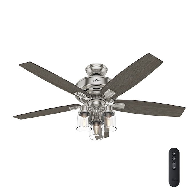 Hunter Donegan Brushed Nickel 52 In Led Indoor Ceiling Fan With Light Kit 5 Blade In The Ceiling Fans Department At Lowes Com
