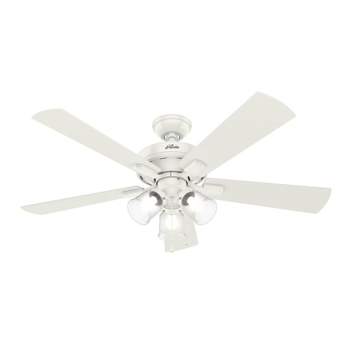 Hunter Crestfield Fresh White 52 In Led Indoor Ceiling Fan With Light Kit 5 Blade In The Ceiling Fans Department At Lowes Com