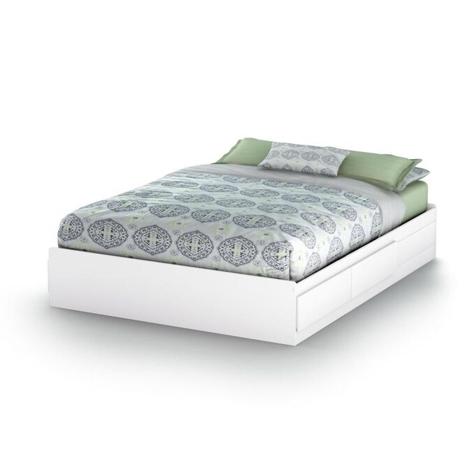 South S Furniture Vito Pure White, Queen Platform Bed With Storage And Headboard White