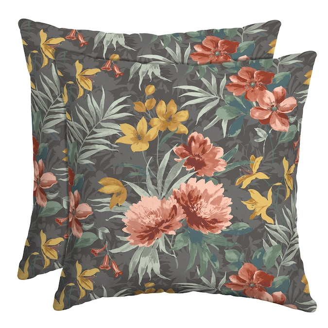 Arden Selections 2 Pack Floral Grey Coral Yellow And Sage Square Throw Pillow In The Outdoor Decorative Pillows Department At Lowes Com