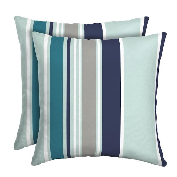 2 Pack Striped Blue Square Throw Pillow In The Outdoor Decorative Pillows Department At Lowes Com