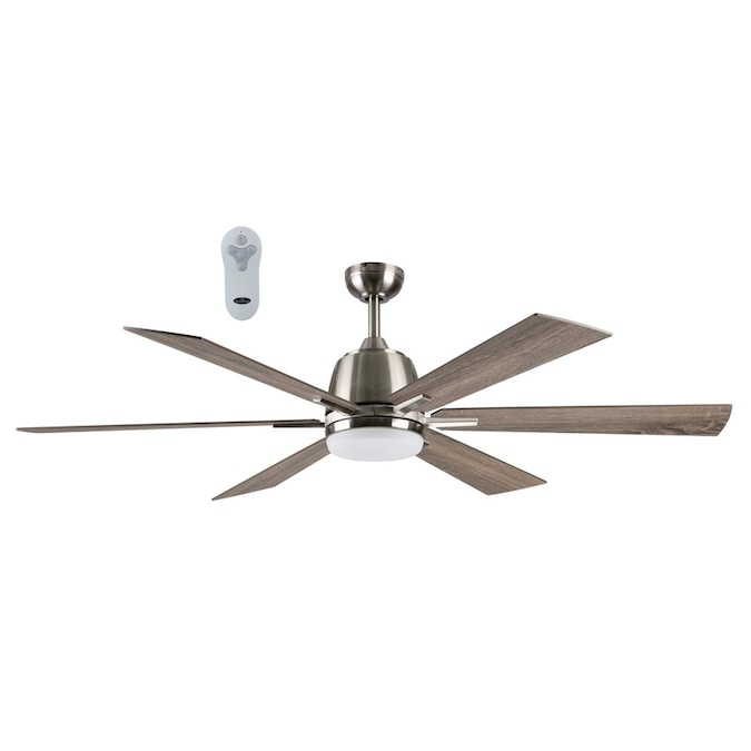 Harbor Breeze Bradbury Brushed Nickel 60 In Led Indoor Ceiling Fan 6 Blade In The Ceiling Fans Department At Lowes Com