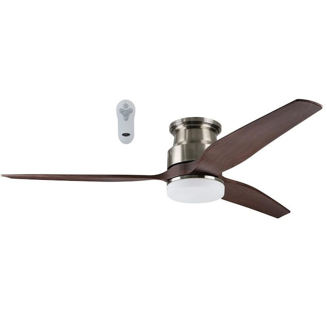 Harbor Breeze Fairwind Brushed Nickel 60 In Led Indoor Outdoor Flush Mount Ceiling Fan 3 Blade In The Ceiling Fans Department At Lowes Com