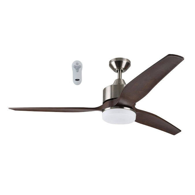 Harbor Breeze Fairwind 60 In Brushed Nickel Led Indoor Outdoor Ceiling Fan With Light Kit And Remote 3 Blade In The Ceiling Fans Department At Lowes Com