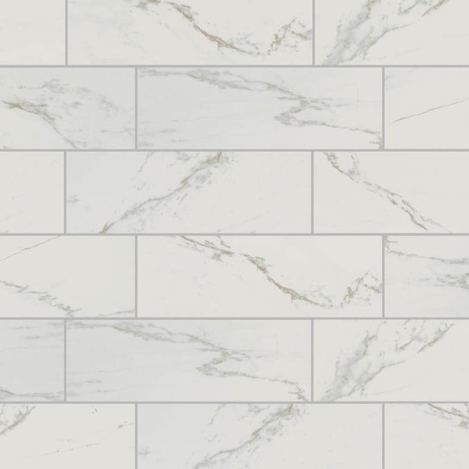 American Olean Marble Manor Calacatta 4 In X 12 In Glossy Ceramic Marble Subway Wall Tile In The Tile Department At Lowes Com