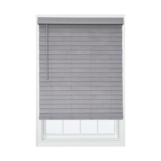 Allen Roth 2 In Slat Width 43 75 In X 72 In Cordless Driftwood Gray Faux Wood Room Darkening Full View Standard Horizontal Blinds In The Blinds Department At Lowes Com
