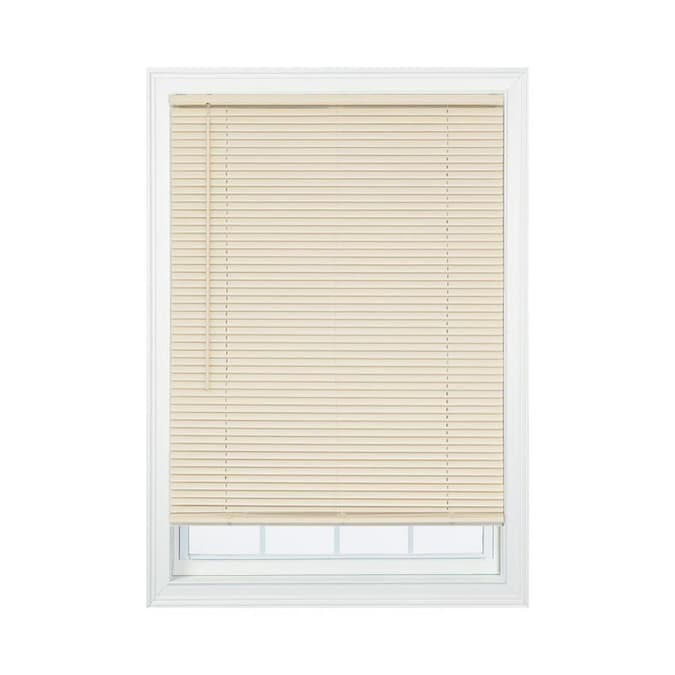 Project Source 1 In Slat Width 41 In X 64 In Cordless Ivory Vinyl Room Darkening Mini Blinds In The Blinds Department At Lowes Com