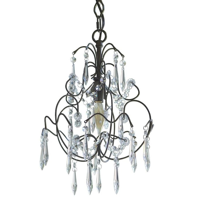 Decor Therapy Mariella 1 Light Italian Rust With Crystal Dangles Mid Century Crystal Chandelier In The Chandeliers Department At Lowes Com