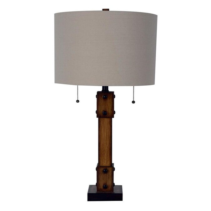 Allen Roth Grancove 26 In Nickel And Espresso Table Lamp With Linen Shade In The Table Lamps Department At Lowes Com