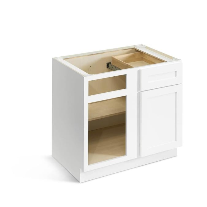 Valleywood Cabinetry 36 In W X 34 5 In H X 24 In D Pure White Birch Blind Door And Drawer Base Stock Cabinet In The Stock Kitchen Cabinets Department At Lowes Com