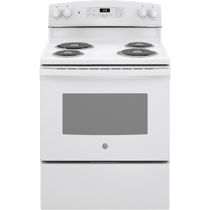 Ge 30 In 4 Elements 5 Cu Ft Self Cleaning Freestanding Electric Range White In The Single Oven Electric Ranges Department At Lowes Com