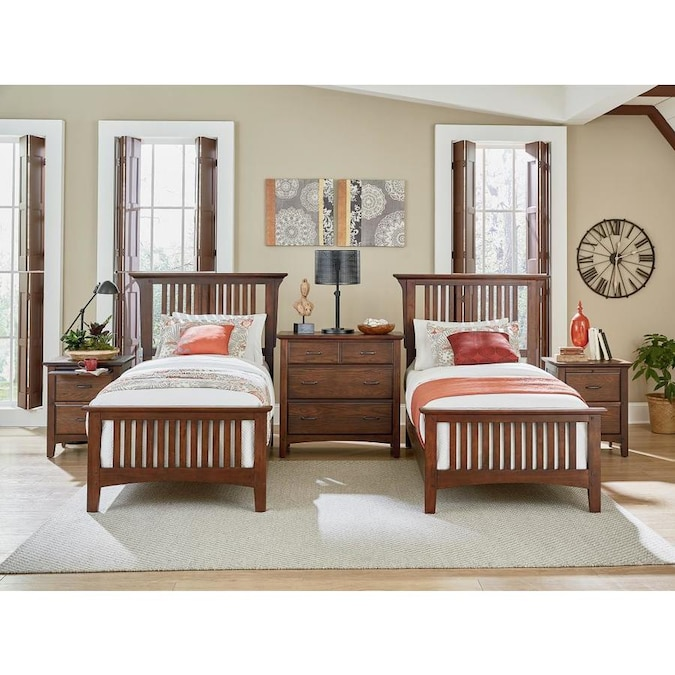 Osp Home Furnishings Modern Mission Double Twin Bedroom Set With 2 Nigh In The Bedroom Sets Department At Lowes Com