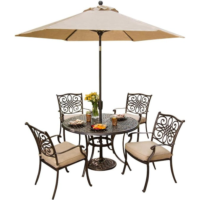 Hanover Outdoor Furniture Traditions 5 Piece Bronze Frame Patio Set With Natural Oat Hanover Cushions In The Patio Dining Sets Department At Lowes Com