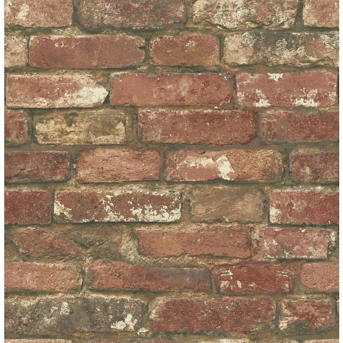 Nuwallpaper 30 75 Sq Ft Red Vinyl Brick Self Adhesive Peel And Stick Wallpaper In The Wallpaper Department At Lowes Com