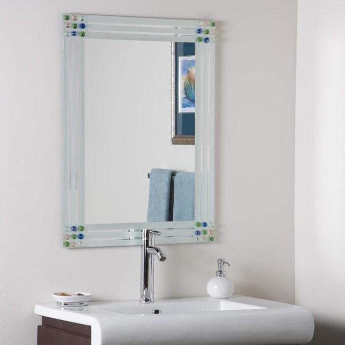 Glossy Gold Rectangular Bathroom Mirror, Landover Rustic Distressed Bathroom Vanity Mirror