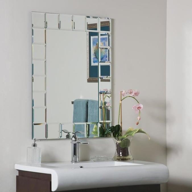 Decor Wonderland 23 6 In Rectangular Frameless Bathroom Mirror In The Bathroom Mirrors Department At Lowes Com