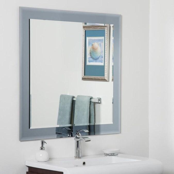 Silver Rectangular Bathroom Mirror, Landover Rustic Distressed Bathroom Vanity Mirror
