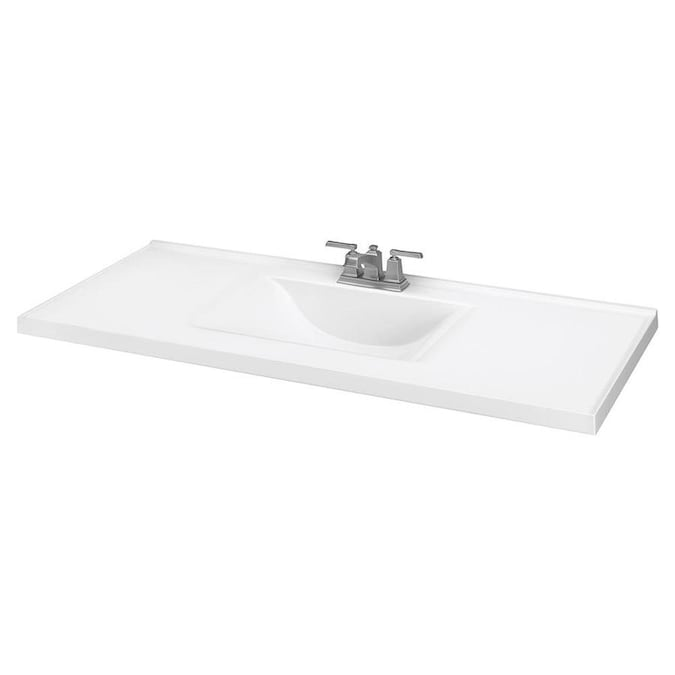 49 In White Cultured Marble Single Sink Bathroom Vanity Top In The Bathroom Vanity Tops Department At Lowes Com
