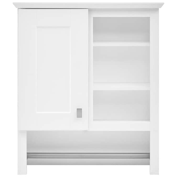Style Selections 24 5 In W X 29 In H X 7 66 In D White Bathroom Wall Cabinet In The Bathroom Wall Cabinets Department At Lowes Com