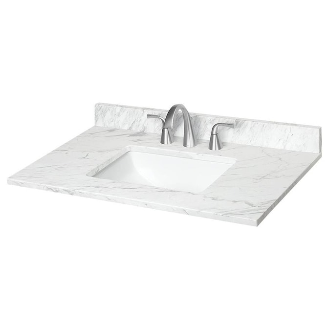 Design House 37 In Solid White Cultured Marble Single Sink Bathroom Vanity Top In The Bathroom Vanity Tops Department At Lowes Com