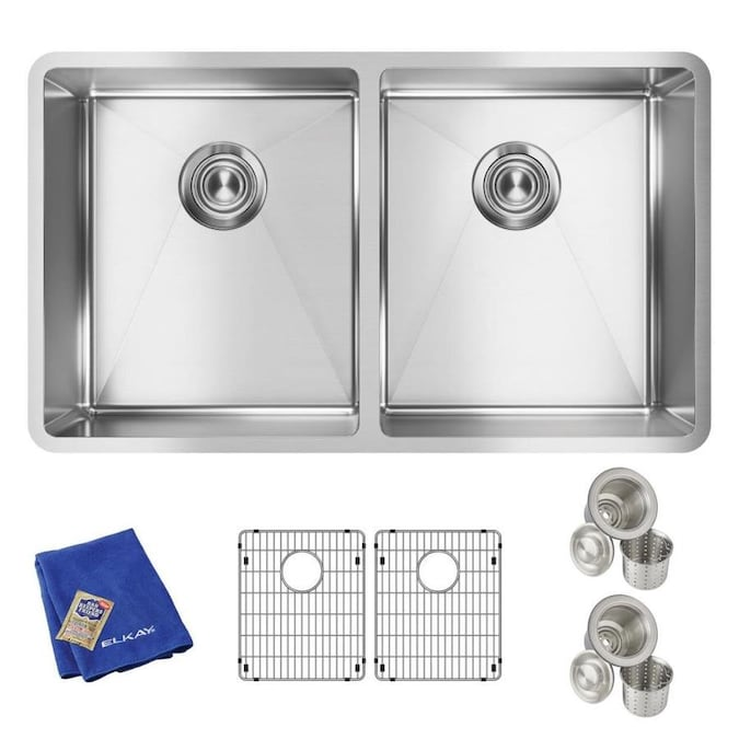 Elkay Crosstown Undermount 31 5 In X 18 5 In Polished Satin Double Equal Bowl Kitchen Sink In The Kitchen Sinks Department At Lowes Com