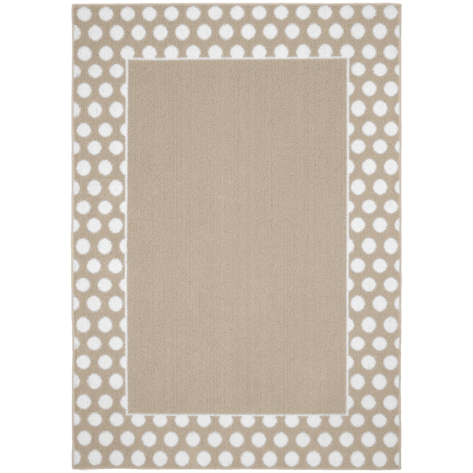 Garland Polka Dot 1 1 2 X 2 1 2 Tan White Indoor Border Area Rug In The Rugs Department At Lowes Com