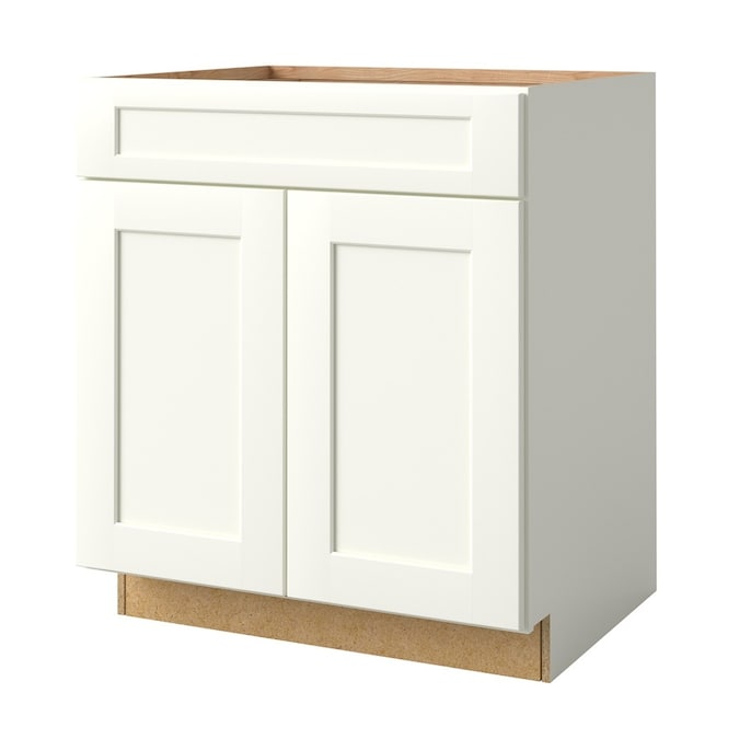 Design House Brookings Ready To Assemble 30x34 5x24 In Base Cabinet Style 2 Door Sink In White In The Semi Custom Kitchen Cabinets Department At Lowes Com